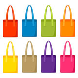 Colored bags templates. Set of promotional gifts and souvenirs Royalty Free Stock Photo