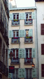 Colored balcony. Old Buildings in Bayonne France Stock Image