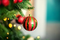 Colored ball on the Christmas tree. The concept of Christmas and Stock Photos