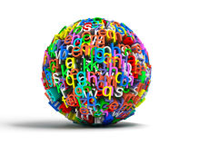 Colored ball letters. 3d conceptual illustration with colored ball letters isolated in white Royalty Free Stock Photography