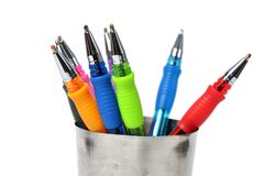 Colored ball-pen in steel cup Stock Image
