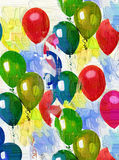 Colored balloons. Artistic painted cheerful background with air balloons Royalty Free Stock Photo