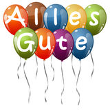 Colored balloons - Alles Gute. Flying colored balloons with ribbons and text all the best & x28;in German& x29 Stock Photo