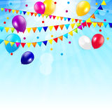 Colored Balloons Background, Vector Illustration Stock Photos