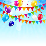 Colored Balloons Background, Vector Illustration Stock Photography