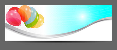 Colored balloons banner, vector illustration Stock Image