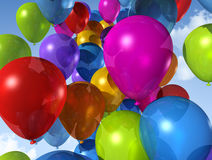 Colored balloons on a blue sky Royalty Free Stock Photography