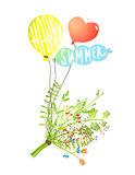 Colored Balloons and Bouquet Happy Summer Sign Stock Image