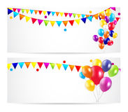 Colored Balloons Card Banner Background, Vector Royalty Free Stock Image