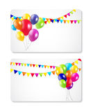 Colored Balloons Card Banner Background, Vector Stock Images