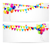 Colored Balloons Card Banner Background, Vector Stock Image