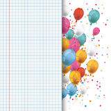 Colored Balloons Checked School Paper Stock Photos