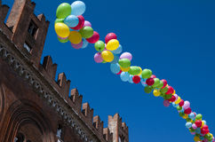 Colored Balloons in a clear blue sky Stock Photo