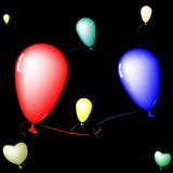 Colored balloons composition over black background Royalty Free Stock Photography