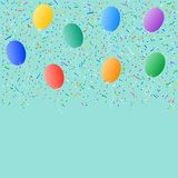 Colored balloons confetti background Stock Photos