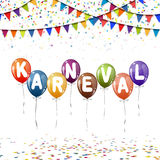 Colored balloons, confetti and garlands for carnival Stock Photography