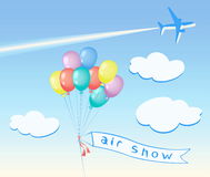 Colored  balloons flying, clouds, Airplane. Air show banner. Colored balloons flying, clouds. Airplane with trail in the sky. Vector illustration Stock Photography