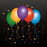 Colored balloons flying confetti and dark background. Vector illustration Royalty Free Stock Images