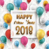 Colored Balloons Frame Happy New Year 2018 Ornaments Wallpaper. Colored balloons with frame, colored balloons for silvester 2018 on the wallpaper with ornaments Stock Photography