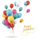 Colored Balloons Happy Birthday White Cover Stock Images
