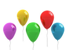 Colored balloons isolated on white. 3d render Stock Photo