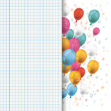 Colored Balloons Letters Checked School Paper Royalty Free Stock Images