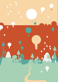 Colored balloons over the forest and mountains. Illustration with colored balloons over the forest and mountains Stock Image