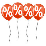 Colored balloons with percentage signs Royalty Free Stock Images