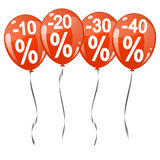 colored balloons with percentage signs Royalty Free Stock Photo