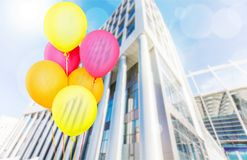 Colored balloons. Red baloon ballon bunch string white Royalty Free Stock Photo