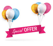 Colored Balloons Ribbon Special Offer Royalty Free Stock Photography