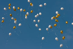 Colored balloons in sky Royalty Free Stock Photos