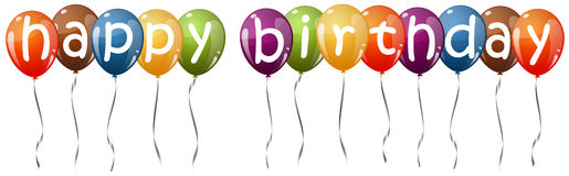 Colored balloons with text HAPPY BIRTHDAY Royalty Free Stock Photo