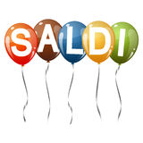 colored balloons with text SALDI Royalty Free Stock Image