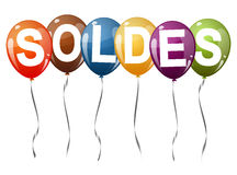 Colored balloons with text SOLDES Stock Photo