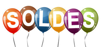 Colored balloons with text SOLDES Royalty Free Stock Images