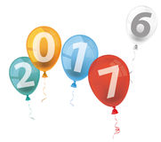 4 Colored Balloons 2017 2016. Text 2017 with colored balloons on the white background Stock Image