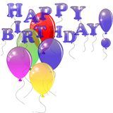 Colored balloons with the words happy birthday. Royalty Free Stock Photo