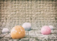 Colored balls and concrete. Colored balls and big concrete floor. Rendered in Blender 3d royalty free stock image
