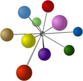 Colored balls connected into the centre sphere Royalty Free Stock Photo
