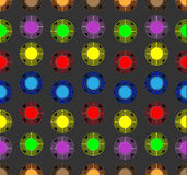 Colored balls on a dark background. Colored balls of yellow, blue, purple and green colors on a dark background Vector Illustration