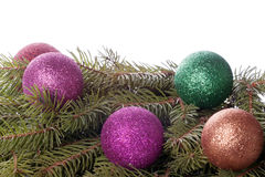 Colored balls are on the fir trees Stock Photography