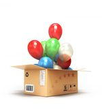 Colored balls fly out of the box Stock Photo