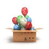 Colored balls fly out of the box Stock Images