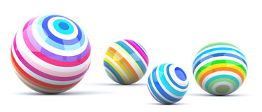 Colored Balls. Multi Colored Balls. Digitally Generated Image.  On White Royalty Free Stock Photography