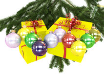 Colored balls and presents Stock Image