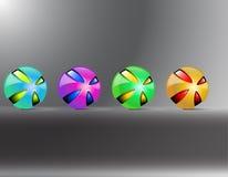 Colored balls. Red orange yellow green purple balls. Creative balls decaying Royalty Free Stock Photography