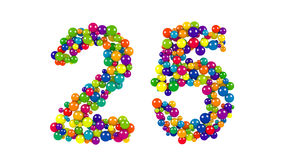 Colored balls in the shape of number twenty five. Various sized green, red, blue and yellow balls in the shape of number twenty five over white background royalty free illustration