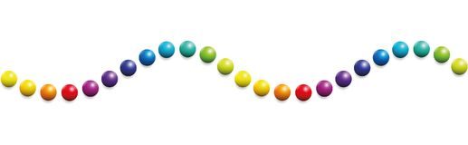 Colored Balls Wave Horizontal Pattern. Colored balls. Horizontal wave pattern. Seamless extendable illustration on white background Royalty Free Stock Photo