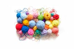 Colored balls of yarn. View from above. Rainbow colors. All colo. Rs. Yarn for knitting. Skeins of yarn royalty free stock photo